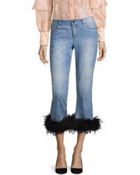 Alice + Olivia - Tasha Cropped Feather Hem Jeans - Lyst
