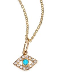 Sydney Evan - Diamond & Turquoise Evil Eye Necklace - Lyst