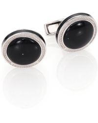 Tateossian - Round Sterling Silver & Black Onyxcuff Links - Lyst