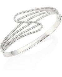Hueb - Wave Diamond & 18k White Gold Bangle Bracelet - Lyst
