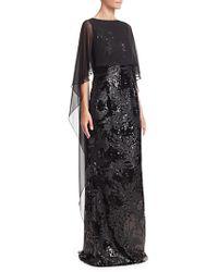 Teri Jon - Chiffon Overlay Sequined Gown - Lyst