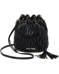 Miu Miu - Metalassé Leather Bucket Bag - Lyst