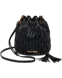 Miu Miu - Women's Metalassé Leather Bucket Bag - Black - Lyst