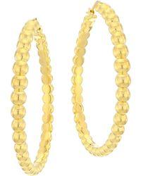 Roberto Coin - 18k Beaded Hoop Earrings - Lyst