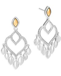 John Hardy - Legends Naga Diamond Pave, 18k Gold & Silver Chandelier Earrings - Lyst