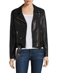 VEDA - Jayne Belted Leather Moto Jacket - Lyst
