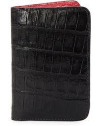 Santiago Gonzalez Crocodile Bicolor Billfold Wallet - Black