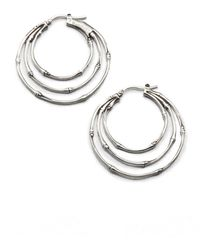 John Hardy - Bamboo Sterling Silver Small Orbital Hoop Earrings/1.5 - Lyst