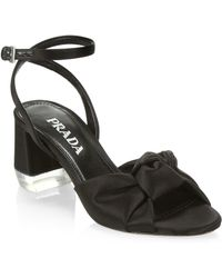 7d61926b81bd Prada - Women s Satin Knotted Ankle-strap Sandals - Black - Lyst
