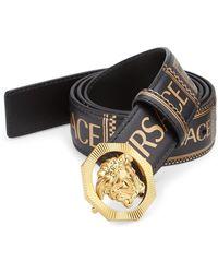 Versace - Medusa Printed Leather Logo Belt - Lyst