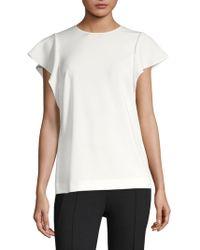 ESCADA - Ruffle Short Sleeve Blouse - Lyst