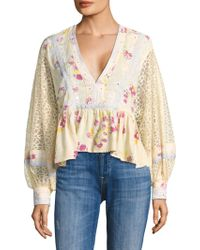 Free People | Boogie All Night Printed Blouse | Lyst