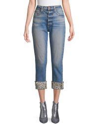 AO.LA by alice + olivia - Amazing High-rise Embellished Hem Jeans - Lyst