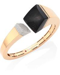 Roberto Coin - Prive Pave Diamond, Black Jade & 18k Rose Gold Bangle - Lyst