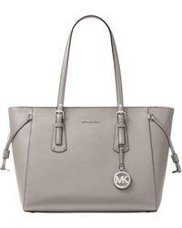 a73ff8cba2509e Lyst - Michael Michael Kors Jet Set Textured-Leather Tote in Gray