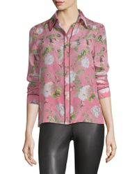Alice + Olivia - Alfie Floral-print Silk Blouse - Lyst