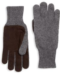 Brunello Cucinelli - Cashmere Suede Rib-knit Gloves - Lyst