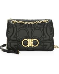Ferragamo - Large Quilted Flap Leather Crossbody Bag - Lyst