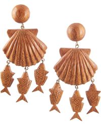 Rebecca de Ravenel - Delphine Wood Charm Drop Earrings - Lyst