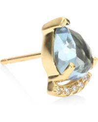 Paige Novick - Powerful Pretty Thigns Diamond & Aquamarine Single Stud Earring - Lyst