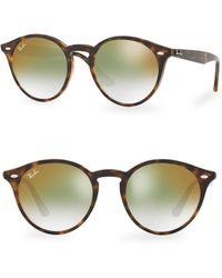 Ray-Ban - 49mm Solid Round Havanna Sunglasses - Lyst