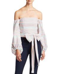 Nicholas - Rainbow Stripe Off-the-shoulder Top - Lyst