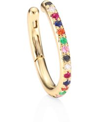 EF Collection - Rainbow Multicolor Diamond, Sapphire & 14k Yellow Gold Ear Cuff - Lyst