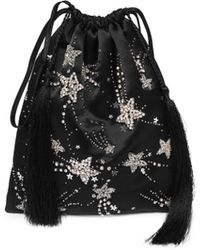 Attico - Sequin Star Satin Pouch Bag - Lyst