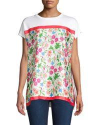 ESCADA - Short-sleeve Satin Floral Tee - Lyst
