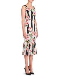 Dolce & Gabbana - Rose-print Striped Dress - Lyst