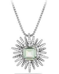 David Yurman | Starburst Necklace With Diamonds And Prasiolite In Silver, 30mm | Lyst