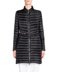 Moncler - Agatelon Long Zip Waist A-line Puffer Jacket - Lyst