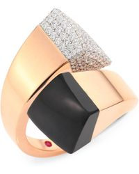 Roberto Coin - Prive Pave Diamond, Black Jade & 18k Rose Gold Bypass Ring - Lyst