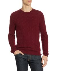 Ralph Lauren Purple Label - Cable Knit Cashmere Sweater - Lyst