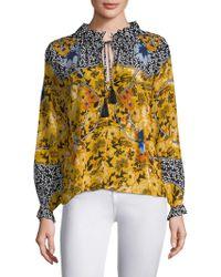 Saloni - Ali Silk Printed Blouse - Lyst