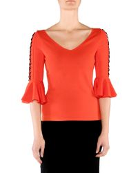 Stizzoli - Lace-up Bell-sleeve Top - Lyst