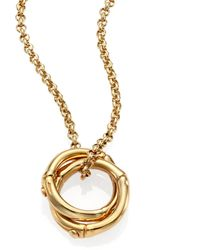 John Hardy - Bamboo Small 18k Yellow Gold Interlinking Ring Pendant Necklace - Lyst