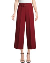 BOSS - Cropped Wide-leg Pants In Bonded Micro Fabric - Lyst