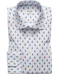 Eton of Sweden - Contemporary Fit Sail Boat Shirt - Lyst