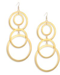 Kenneth Jay Lane - Gold Plated Open Circle Dangling Earrings - Lyst