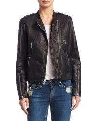 Rag & Bone - Lyon Tonal Stitched Leather Jacket - Lyst