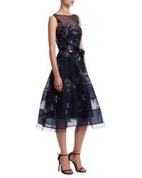 Teri Jon - Lace Applique Illusion Neckline Tulle Belt Dress - Lyst