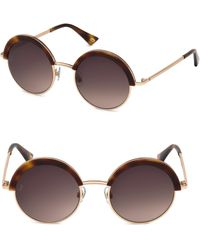 Web - 51mm Havana & Gradient Brown Lens Round Sunglasses - Lyst