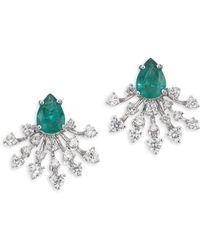 Hueb - Luminus Diamond, Emerald & 18k White Gold Stud Earrings - White Gold - Lyst