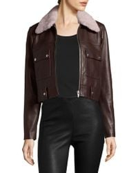 VEDA - Freeman Shearling Collar Leather Jacket - Lyst