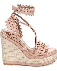 Alaïa - Women's Laser Cut Leather Platform Wedge Espadrille Sandals - Nude - Lyst