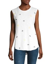 Feel The Piece - Embroidered Cut Off Tank - Lyst