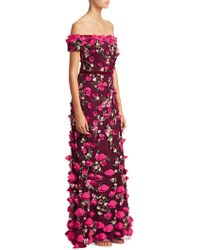 Marchesa notte - Floral Embellished Evening Gown - Lyst