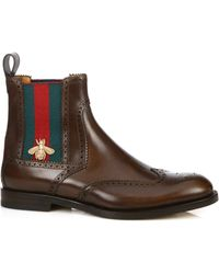 8fb2939b2b76 Lyst - Gucci Black Leather Web Stripe Detail Boots in Black for Men