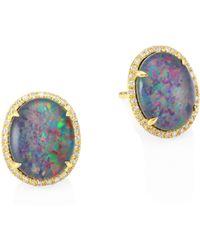Meira T - 14k Gold Opal Triplet & Diamond Stud Earrings - Lyst